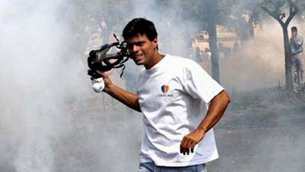 Leopoldo López, en una protesta violenta contra el gobierno